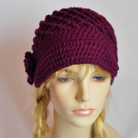 Womens Hat Crochet Newsboy  Hat, Crochet Beanie with flower and button in Burgandy.  Ready to Ship