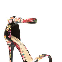 Floral Faux Leather Single Sole Heels
