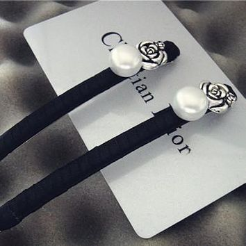 CHANEL Women Fashion Flower Pearl Hairpin Headwear