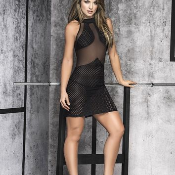 Black Scoop Neck Mini Dress Clubwear Dresses