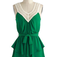 ModCloth Mid-length Sleeveless Tangled Up in Green Top