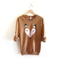 Supermarket: Geo Fox - Hand STENCILED Crew Neck Fleece Raglan Sweatshirt in Rust from Alyssa Zukas