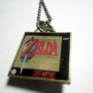 Zelda necklace A Link to the Past SNES box art pendant on ball chain - free size adjustments - retro video game - video game jewelry