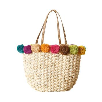 Raffia Beach Bag Handmade Pom Ball Handbags Straw Baskets Summer Bohemia Holiday Shoulder Bags Market Women Shopping Tote 1075
