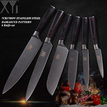 XYj Stainless Steel Kitchen Knives 6 PCS Set High Carbon Blade Wood Handle Kitchen Knife Master Chef Cooking Tool Damascus Vei