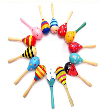 2pcs New Fashion Infant Baby Kid Wooden Ball Toy Rattle Boys Girls Sand Hammer Percussion Musical Instrument