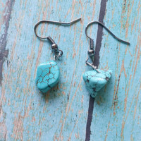 Turquoise Nugget Earrings / Boho Chic Jewelry / Western Jewelry / Southwest Jewelry  / Stone Chip Jewelry / Turquoise Earrings