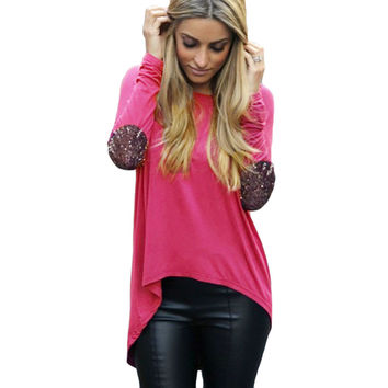 Pink Glitter Elbow Patchwork Long Back Top