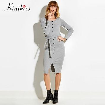 spring women club gray women sweater dress slim bodycon knitted sweater button winter party oversized sweater
