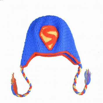 Handmade Crochet Baby Kids Earflap Hats Winter Warm Beanie Boys Toddlers Superman Cap (Color: Blue) = 1945851588