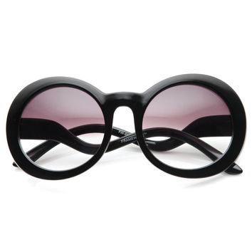 Trendy Fashion Inspired Womens Round Half Tint Sunglasses 8888