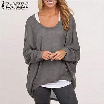 ZANZEA Oversized Blusas Sexy 2017 Women Blouses O neck Batwing Long Sleeve Knitted Casual Loose Solid Shirts Top S-3XL 9 Color