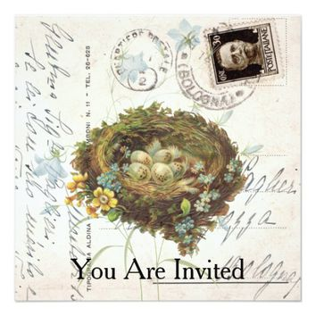 Vintage Nest Flowers Italian Postcard Invitation