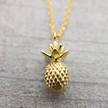 Pineapple fruit gold necklace