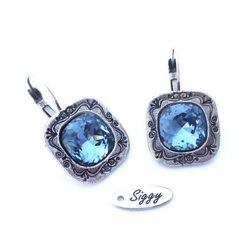Shabby Chic Denim Blue Swarovski crystal earrings, 12mm cushion cut, ornate detail, antique silver, Siggy bling