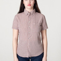 American Apparel - Unisex Gingham Short Sleeve Button-Down with Pocket
