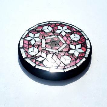 Small Mosaic Star Trivet. Art Candle Holder. Stained Glass Home Decor. Holiday Decoration.