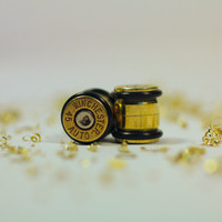 "Winchester 45 Auto ACP Bullet Ear Plug 1/2"" 13mm Inch Guage Earring Plugs 0.5"" / Steam Punk Cartridge Plugs Ear rings 1911 Brass"
