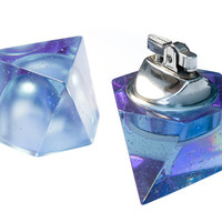 Octahedron Table Lighter and Ashtray Set