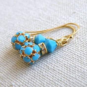 Bridal Earrings Swarovski Turquoise Blue Ball Gold Filled Dangle - Bella EGoldS2 for Brides/ Bridesmaids Wedding Jewelry
