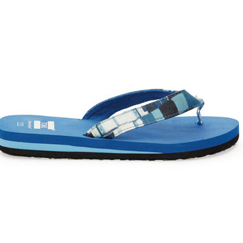 TOMS Blue Canvas Paint Dabs Youth Verano Flip Flops Blue