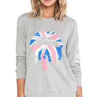 Markus Lupfer Union Jack Drip Lip Sequin Sweatshirt in Gray