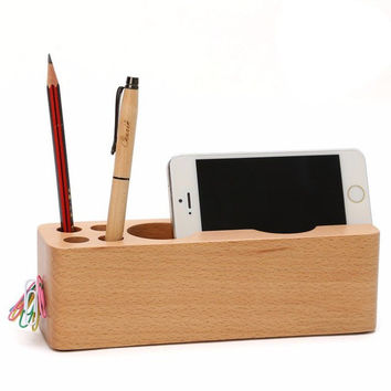 Wood Desktop Organizer Cell Phone Holder