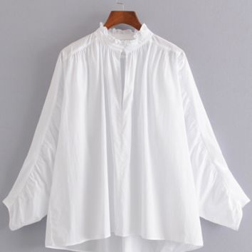 New women's fashion style pleated sleeves poplin long-sleeved shirt