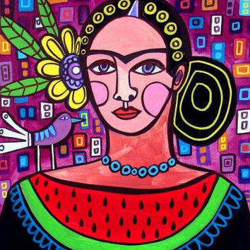 Mexican Folk Art Watermelon Art Modern by HeatherGallerArt