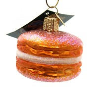 Old World Christmas MACARON Glass Ornament French Pastry 32242 Orange