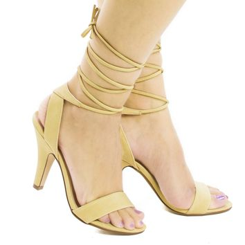 Fitness Beige By Aquapillar, Open Toe Leg Wrap High Heel Sandals