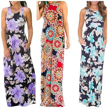 Printed Sleeveless Summer Dress, Sizes S - 2XL (US 4 - 22)