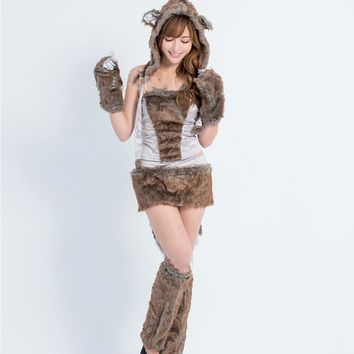 Beautiful Furry Animal Costumes Halloween Costumes for Women Women Sexy Big Bad Wolf costume Adult Animal Cosplay Costumes