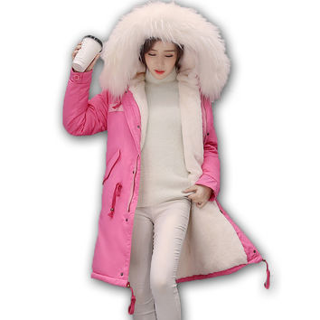 Parka Coat Women Cotton Winter Jacket Women Hooded Parker Coats Womens Rabbit hair Long  Large Jackets