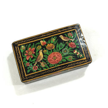 Russian Lacquer Box, Birds & Flowers, Hand Painted Paper Mache, Jewelry / Trinket Box, Vintage