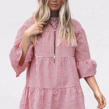 Never Lost Red And White Gingham Dress