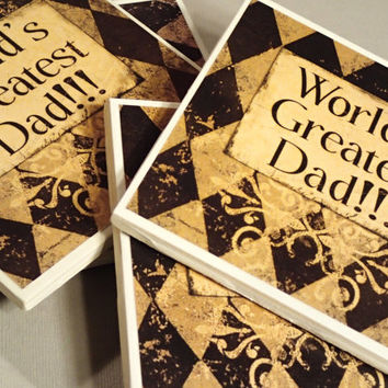 DAD coasters, Worlds Greatest Dad, Fathers day gift, Father, mix and match,home decor,decorative coasters, Office decor, father of the bride