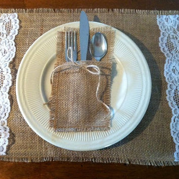 Burlap and Lace Shabby Chic Rustic  Placemats  Set of 4