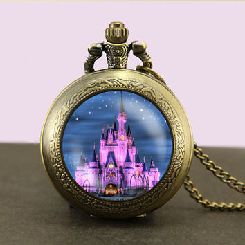 Disney Castle Locket necklace,castle Pocket Watch Necklace,fob watch locket necklace