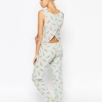 ASOS Goldfish Photographic Vest & Legging Pyjama Set