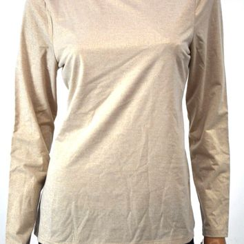Charter Club Womens Mock Neck Long Sleeve Stretch Gold Metallic Blouse Top M
