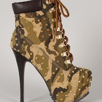 Jennifer-3 Camouflage Studded Spiked Lace Up Platform Bootie