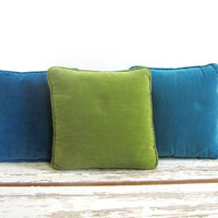 Vintage 1960s small Square Toss Pillows in blue and green / set of 3