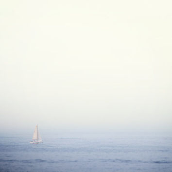 Sailboat Photograph, Nautical, Summer Vacation, Sea, Ocean, Boat, Minimal, Simple, Periwinkle, Blue - Come Sail Away