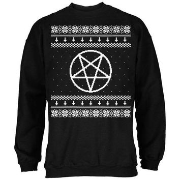 DCCKU3R White Satanic Pentagram Ugly Christmas Sweater Black Adult Sweatshirt