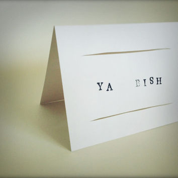 Ya Bish greeting card - hand cut paper with stamps
