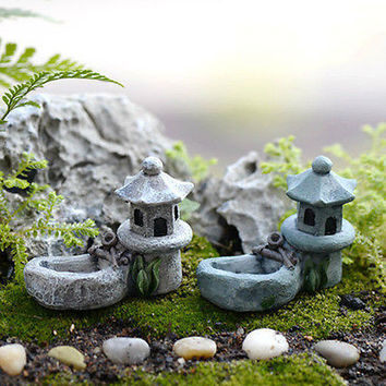 Mini Retro Pond Craft Fairy Garden Home Decor Figurines Toys Micro Landscape HU
