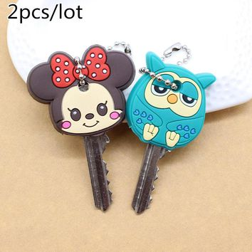 2PCS Cartoon keychain Anime Cute mickey stitch Bear Silicone key cover Hello Kitty owl porte clef cap minne key chain protect