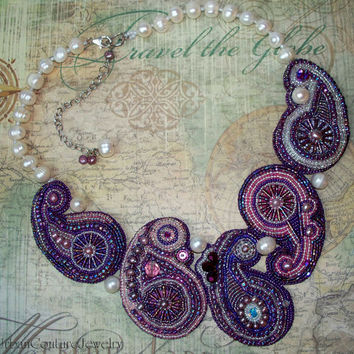 Statement Necklace -  Bead Embroidered Paisley & Pearls Designer Bib Necklace - Genuine Pearls, Swarovski Crystals and Silver Components