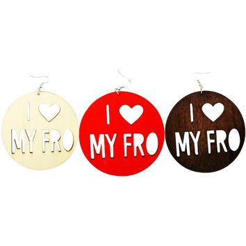 I ❤️ My Fro Earrings | Natural hair earrings | Afrocentric earrings | jewelry | accessories